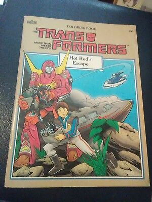 Vintage 1986 Transformers Coloring Book Hot Rod's Escape Unused Hasbro & Marvel