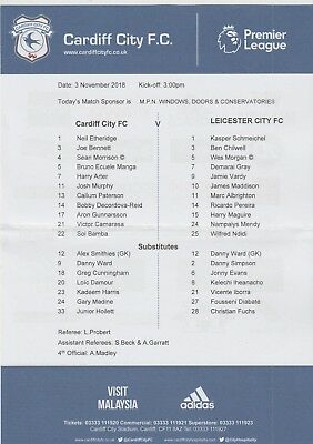 * OFFICIAL TEAMSHEET - CARDIFF CITY v LEICESTER CITY (3rd November 2018) *