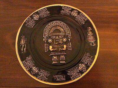 "Large 11 1/2"" Inca Peru Copper Hanging Plate"