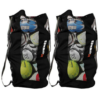 2x Summit Durable Mesh Ball Bag/Shoulder Strap/Base for Soccer/Football/Rugby