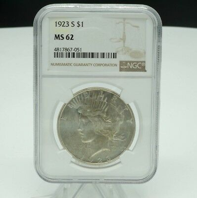 1923 S Peace One Dollar $1 Ngc Graded Ms62 Nice Coin!