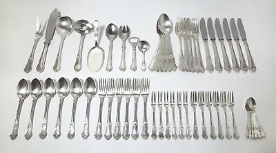 """Silver cutlery set for 6 persons, 57 items. Pattern """"Rosenholm"""". Denmark, 1958."""