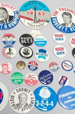 LOT of Presidential Pins:  Cleveland, Coolidge, Humphrey, Nixon, Kennedy, + more