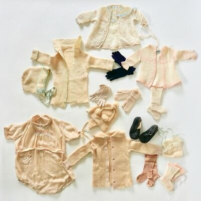 Vintage 1920s Baby Doll Clothes Clothing Lot Silk and Wool