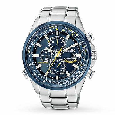 New Citizen Eco-Drive Blue Angels Chronograph AT Steel Men's Watch AT8020-54L
