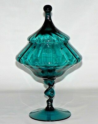 Vtg Empoli Italy Teal Blue Circus Tent Twisted Stem Art Glass Covered Compote