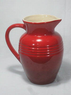"9"" Le Creuset Stoneware Cerise Cherry Red Pitcher"