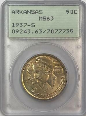 PCGS MS63 1937-S Arkansas Commemorative Half Dollar.! Choice BU.!! OGH. NR.!!