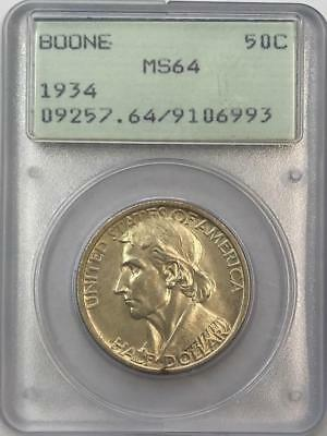 PCGS MS64 1934 Boone Commemorative Half Dollar.! GEM BU.!! OGH. NR.!!