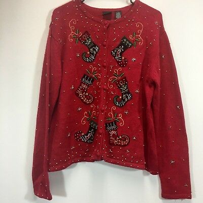 Ugly Christmas Sweater Cardigan Button Up Holiday Xmas Party Vintage
