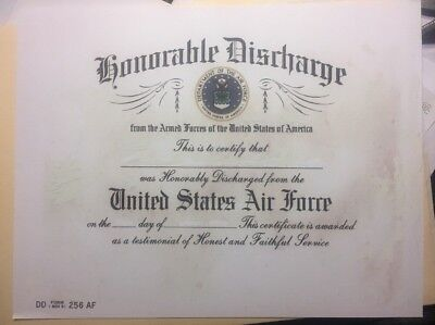 U. S. Air Force Certificate Of Honorable Discharge, Comes Blank