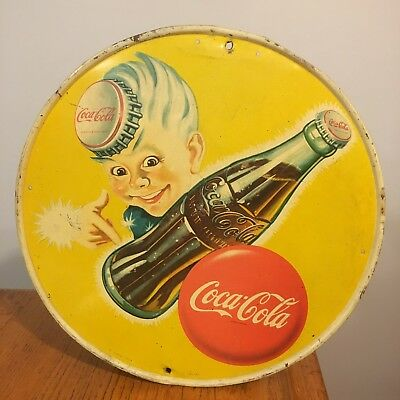 True Original Vtg COCA-COLA Soda Pop Metal Tin Advertising Sign w/ Sprite Boy