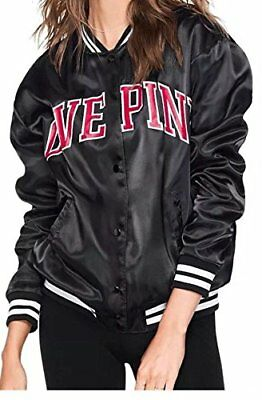 70f5500ed VICTORIA'S SECRET PINK Satin Bomber Jacket Snap Buttons NWT Medium ...