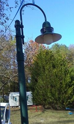 Vintage Street Light Lamp with pole 12' Arched w/ Acorn globe Triboro Bridge NY