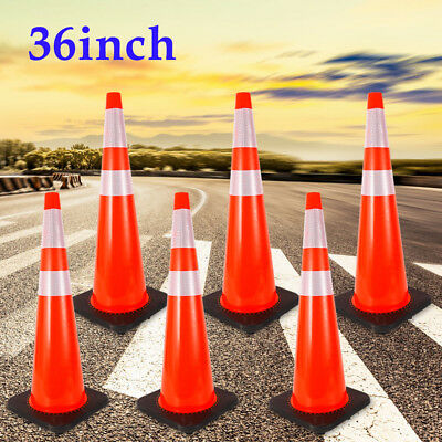 """6X 36"""" Road Traffic Cones Reflective Overlap Parking Emergency Safety Cone TOP!!"""