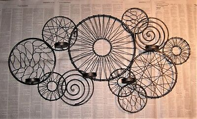 WROUGHT IRON SCONCE Industrial Atomic Wheel Wire Wall Candle Holder MCM Vintage