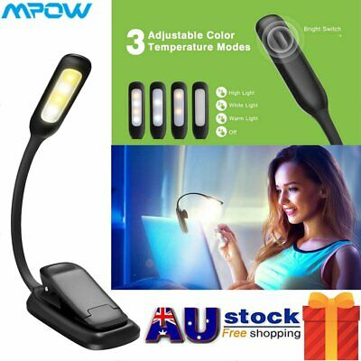 4 LED Reading Book Desk Light Rechargeable 3-level Brightness Clip On Xmas Gift