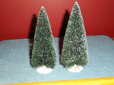 "Dept 56 Bottle Brush Christmas Trees Pair Snow Covered SNOW Village Tree 6"" x 3"""