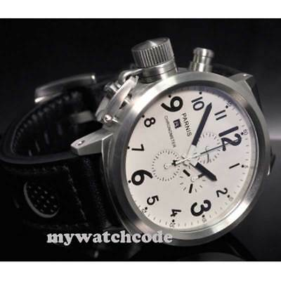 50mm Parnis Big Face white dial day date mens quartz WATCH Full chronograph P37