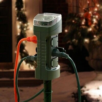 Yard Stake Timer 15-Amp Outdoor Photocell Light Sensor 6-Outlet Holiday Decor