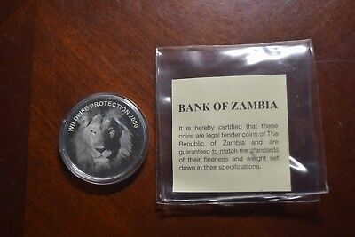 2000 ZAMBIA 4000 KWACHA SILVER Proof Coin Wildlife Protection