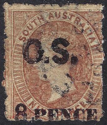 """South Australia 1876 """"8 PENCE"""" surcharge on 9d brown with forged """"OS"""" overprint"""