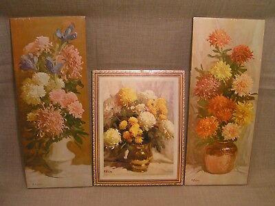 3 1960's Vintage R. Rudolph Colao NOS NIP Champion Products Floral Wall Plaques
