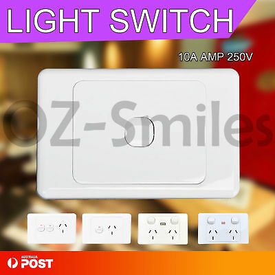 Wall SocketA Amp 240V Double Power Point outlet GPO light switch Plate USB