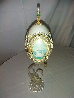 Vintage Fabrege Styled Egg with Glass Swan Stem