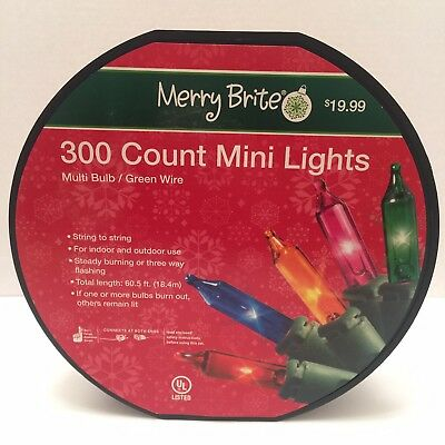 Merry Brite 20 Count Clear Christmas Lights Green Wire 5/'