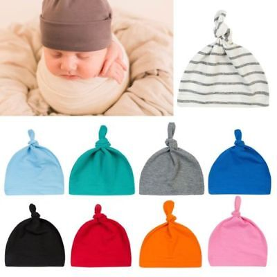 Newborn Baby Boys Girls Beanie Knotted Cotton Hat Soft Cap Infant Toddle Hat