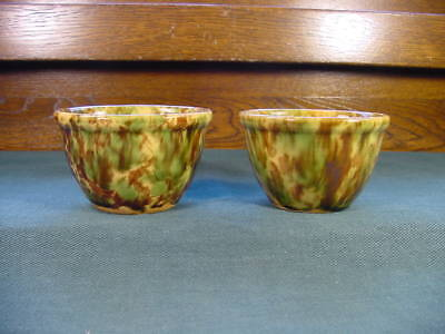 Antique Yellow Ware Rockingham Green Brown Crock Pottery Custard Cups Bowls
