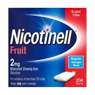 Nicotinell Medicated Chewing Gum 2mg Fruit 204 Pieces - BRAND NEW - Stop Smoking