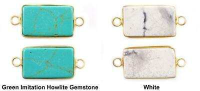 1pc Turquoise Look Howlite Gemstone Natural Stone Gold Plated Brass Rectangle Co