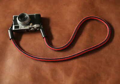 Windmup Best Camera Strap Handmade weave red and blcak rope with balck leather