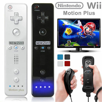 Built in Motion Plus Remote + Nunchuck Controller For Nintendo Wii + Case Cover