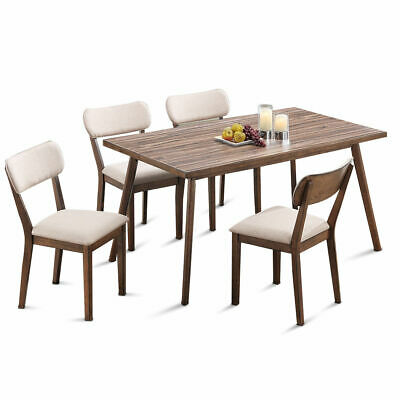 5 Pcs Dining Table Set Wooden Frame Desk & 4 Fabric Upholstered Chair Kitchen