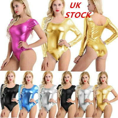Womens Shiny Metallic One Piece High Cut Thong Bikini Monokini Leotard Dancewear