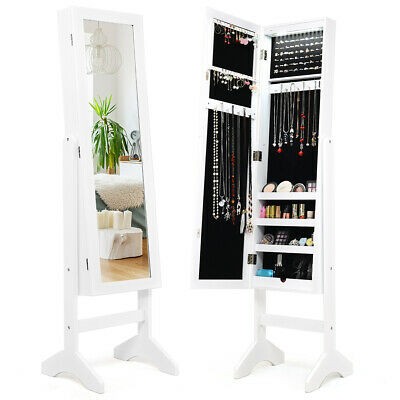 Mirrored Modern Jewelry Cabinet Armoire Organizer Storage LED Lights W/ Stand