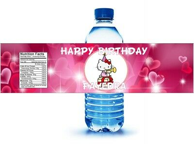 20 Hello Kitty Birthday Water Bottle Labels Personalized