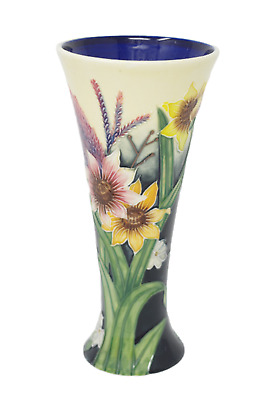 "Vase 8"" Floral Summer Bouquet 1165 Old Tupton Ware Hand Made Tube Lined Pottery"