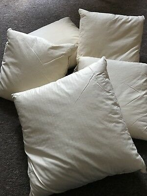 Vintage  Fabric Cushion Pillow Feather Filled Heavy Shabby Chic 38 X 38