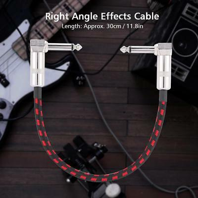"""10ft 1/4"""" Right Angle Electric Guitar Effects Pedal Instrument Patch Lead Cable"""