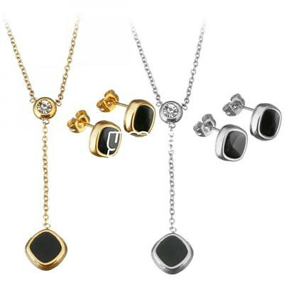 Gift Fashion Women Black Flat Round Stainless Steel Jewelry Set Earring Necklace