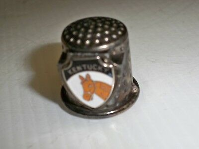 Collectible Thimble Vintage Kentucky Metal Thimble With Enameled Horse Head