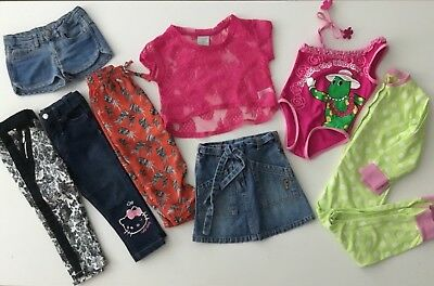 GIRLS SIZE 2-3 BULK LOT x8 SKIRT SHORTS TOP JEANS FRED BARE WIGGLES JIM-JAMS