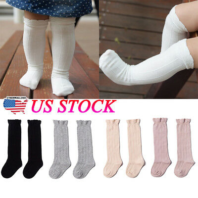 US Toddler Baby Girls Knee High Long Socks Cotton Casual Stockings Daily Outfits