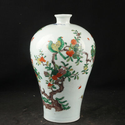 Chinese antique Famille-rose Birds and flowers pattern Porcelain Vase tank pot