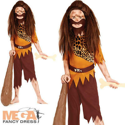 Stone Age Boys Fancy Dress Caveman Pre-Historical Kids Childs Costume Outfit New