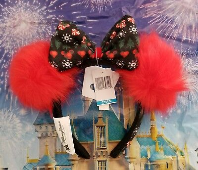 NWT Authentic Disney Parks Minnie Mouse Christmas Holiday Ugly Sweater Ears